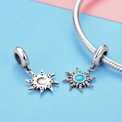 Soleil Bleu Argent Sterling 925 Goutte Charms Fit Femmes Chaîne Bangle Bracelet Bijoux