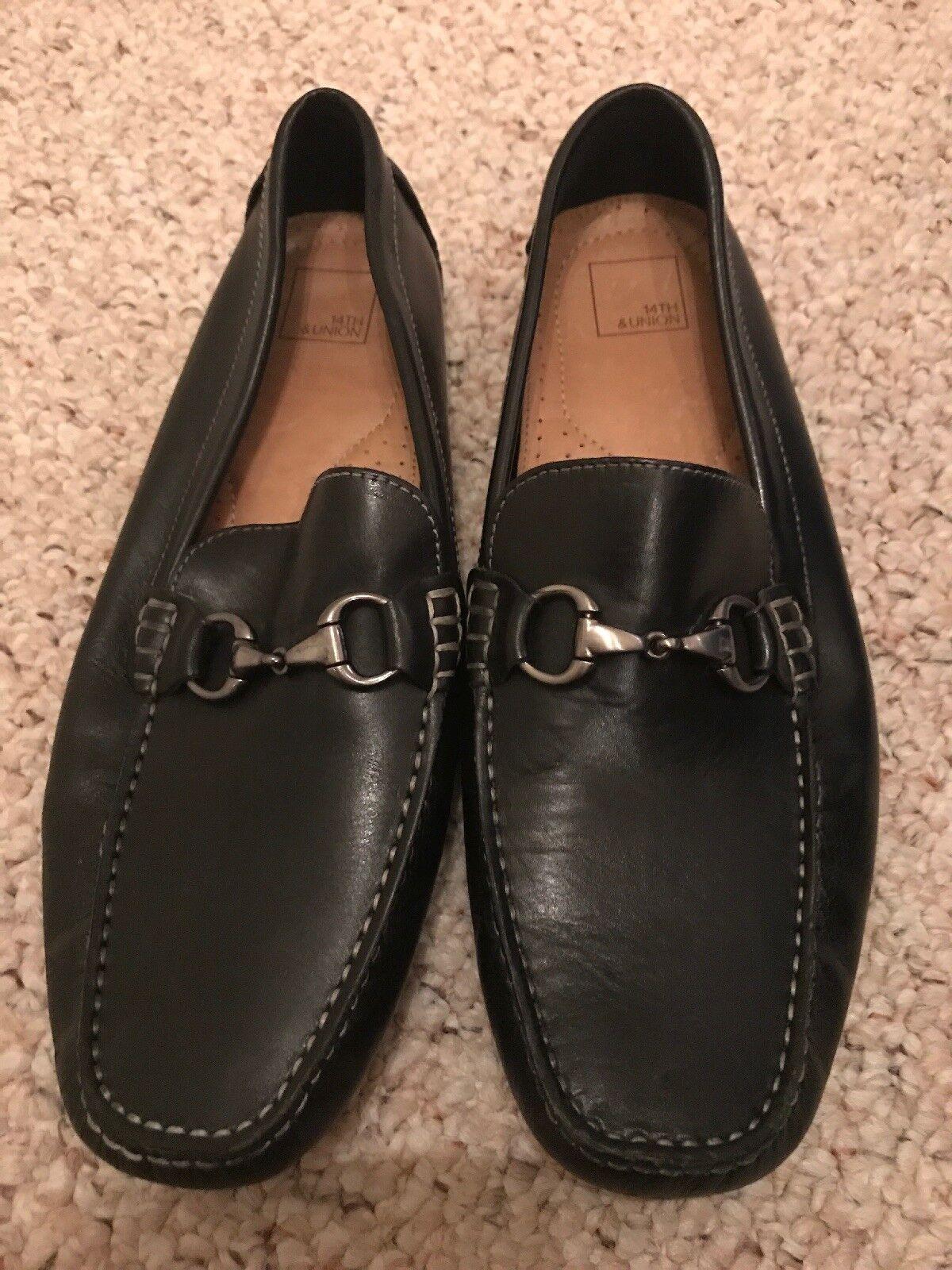 Mens 14TH &Union nero leather slip on driving  moccasins sz.12 M  100% nuovo di zecca con qualità originale
