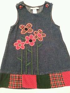Girls-Denim-Sundress-4T-Blue-Red-Flowers-Samantha-Says-EUC