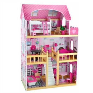 3-Storey-Large-Mansion-Kids-Girl-Wooden-Doll-House-Pink-Dollhouse-Furniture-16pc
