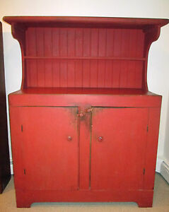 Image Is Loading Farmhouse Antique Primitive Sideboard Buffet Cabinet  Painted Red
