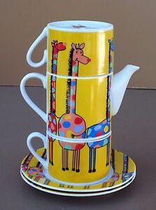 Theiere-2-tasses-GIRAFE-2-sous-tasses-deco-cuisine-animal-teapot-cups-saucer