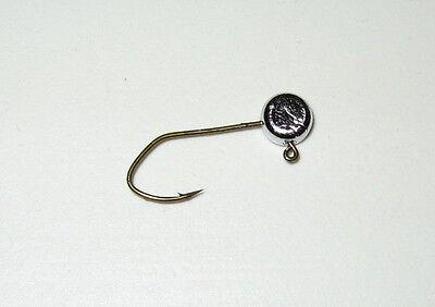 50 Hand made 1//8  no collar crappie pill jig heads w// #1//0 bronze sickle hook