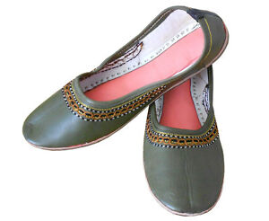 Women-Shoes-Indian-Handmade-Leather-Light-Grey-Ballerinas-Jutties-UK-1-5-EU-34