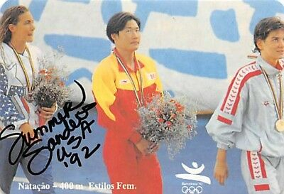 Sports Trading Cards Cooperative Us Gold Olympics 1992 Swimming Butterfly & Relay Autographed Card Summer Sanders Olympics Cards