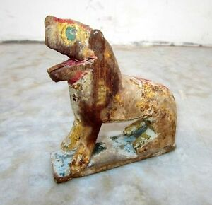 1850s-Old-Antique-Hand-Carved-Polychrome-Wooden-Lion-Figurine