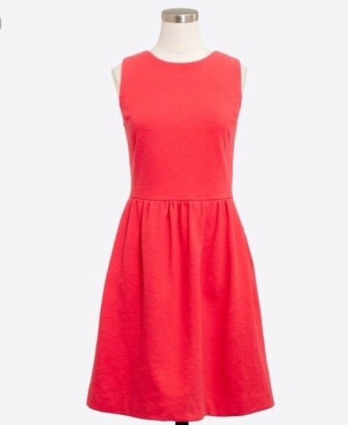 NWT     J. Crew Factory Bright Coral Daybreak Dress pockets Cotton Größe XS