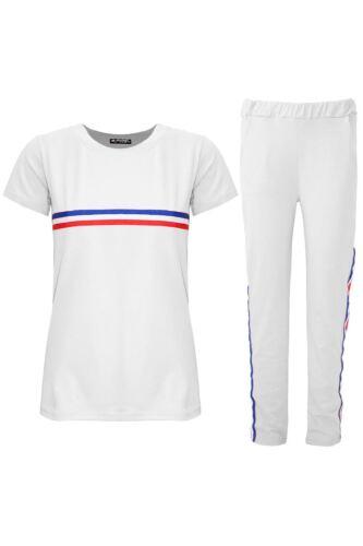 Womens Ladies Tracksuit Striped Cap Sleeve Lycra Top Pants Sports Suits 2 Piece
