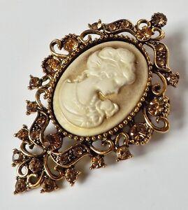 Brosche-Gemme-Cameo-Vintage-floral-Anstecknadel-Strass-champagner-antik-gold