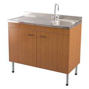 Nuovo mobile per cucina con lavello acciaio inox 100x50 teak c/kit ...