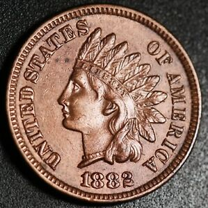 1882-INDIAN-HEAD-CENT-With-LIBERTY-amp-Near-4-DIAMONDS-AU-UNC