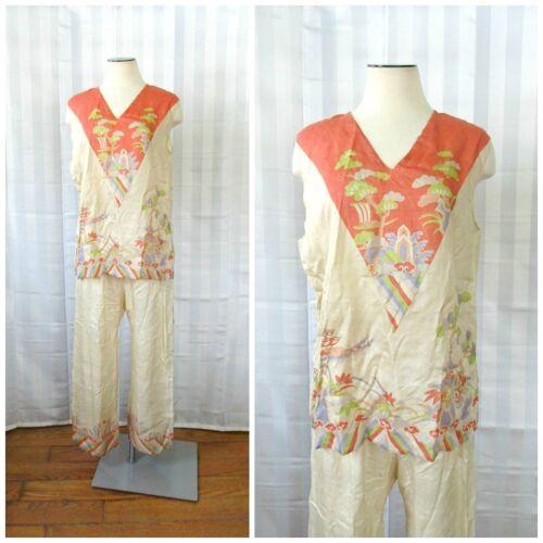 Vintage Pongee Silk Beach Pajamas 1920s Japan Loun