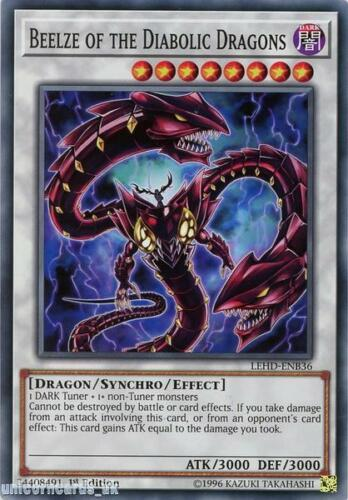 LEHD-ENB36 Beelze of the Diabolic Dragons 1st Edition Mint YuGiOh Card