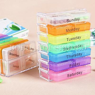 7 Day Tablet Weekly Pill Boxes Holder Medicine Storage Organizer Container Case