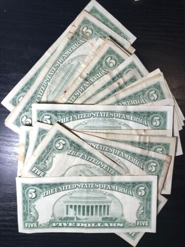 One Random RARE 1953-1963 Red Seal $5 Legal Tender Note FIVE Dollar Bill Lot 1