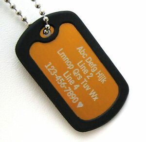 PERSONALIZED Dog Tag Necklace VERTICAL Wording - ORANGE with Black Silencer