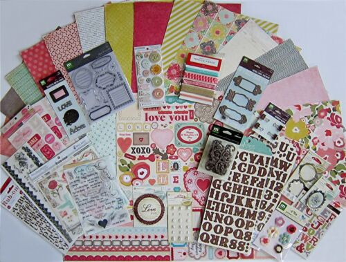 Paper Heart Collection Valentine Paper /& Embellishments  Save 80/% Crate Paper
