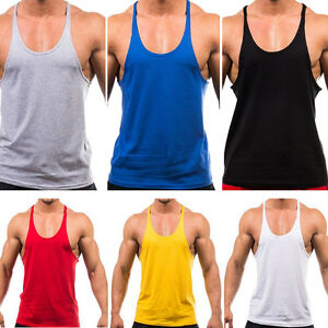 Men's Muscle Racer Back Sleeveless Athletic Gym Vest Plain Tank Top Training MAD