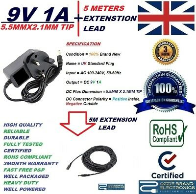 3 Meter Extension Cable for Sega Game Gear PSU 9V UK