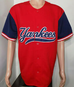 best authentic 6fbb0 54a37 Details about New York Yankees Starter Jersey (Large) Vintage Red 1990's  Baseball NY MLB MINT!