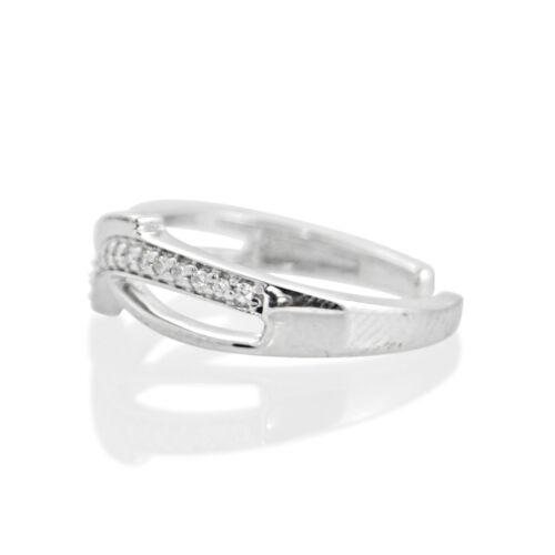 14K Or Blanc Sur Rond Cut simulé Diamant Réglable Bypass Toe Ring