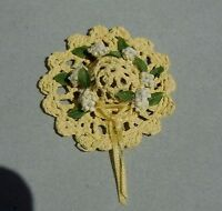 DOLLHOUSE MINIATURE ~  COUNTRY LACE HAT WITH HITE FLOWERS/ DOOR ORNAMENT  1:12