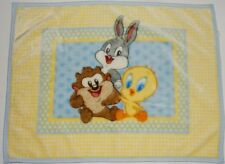 Looney Tunes Baby Blanket Dolly Brand Tweety Bird Taz Bugs Bunny Yellow Blue