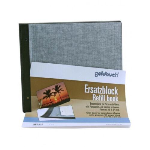 Goldbuch schraubalbum BLOCCO DI RICAMBIO NERO 30 fogli 29x24 Pergamin album immagini