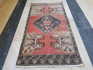 Vintage-Anatolian-Woven-Turkish-Oushak-Ushak-Yastik-Mat-Rug-Size-1-6-X-3-1-Feet