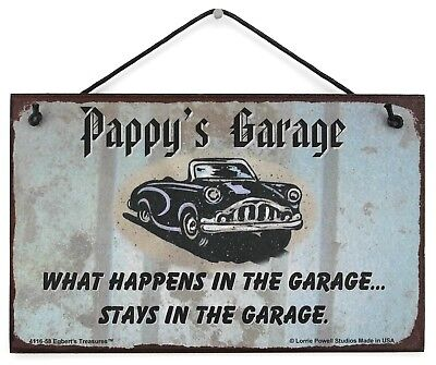 Pappy/'s Garage Sign Happens Stays Man Cave Classic Chevy Shop Car Workshop Beer