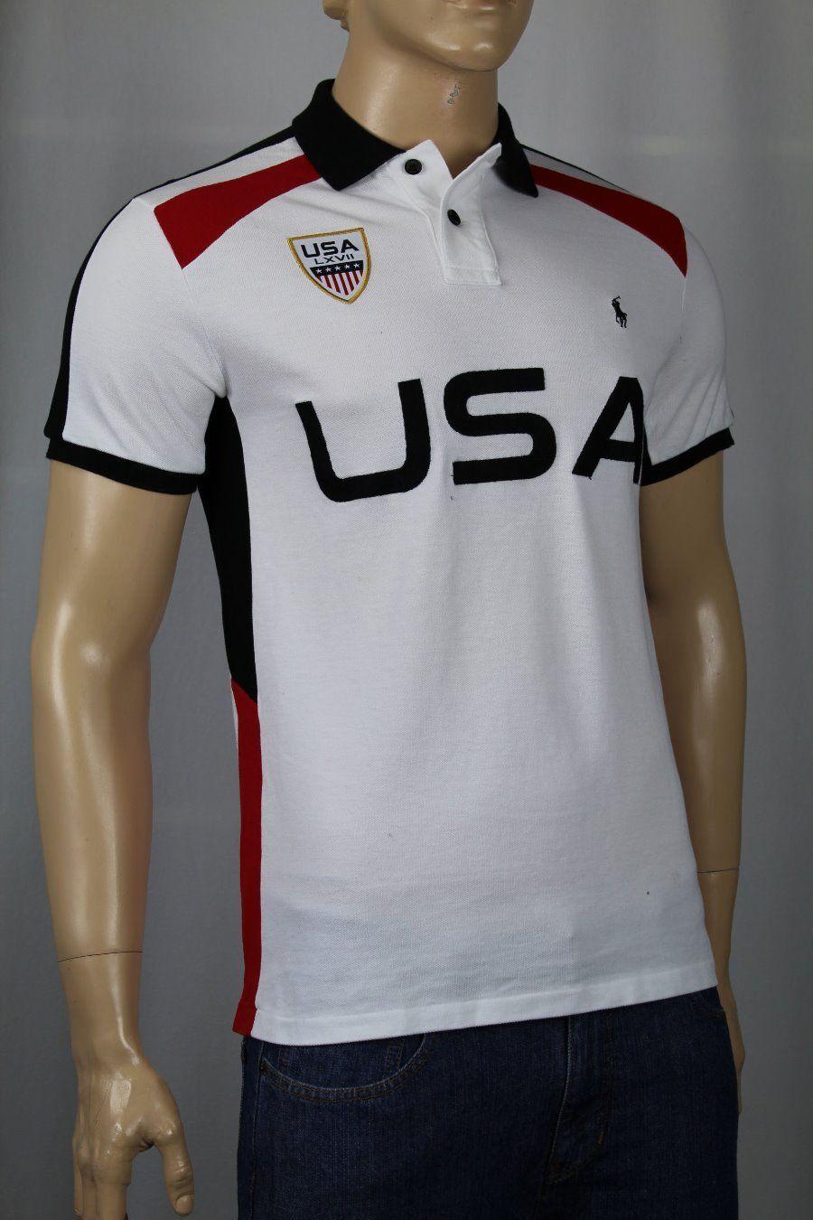 Ralph Lauren White USA Classic Fit Polo Shirt NWT