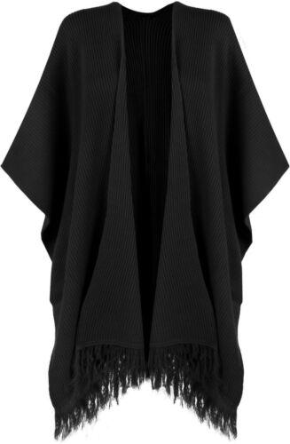 Women/'s Ladies Faux Fur Poncho Cape Celeb Trim Hooded Jacket Lush Wrap Coat 8-20