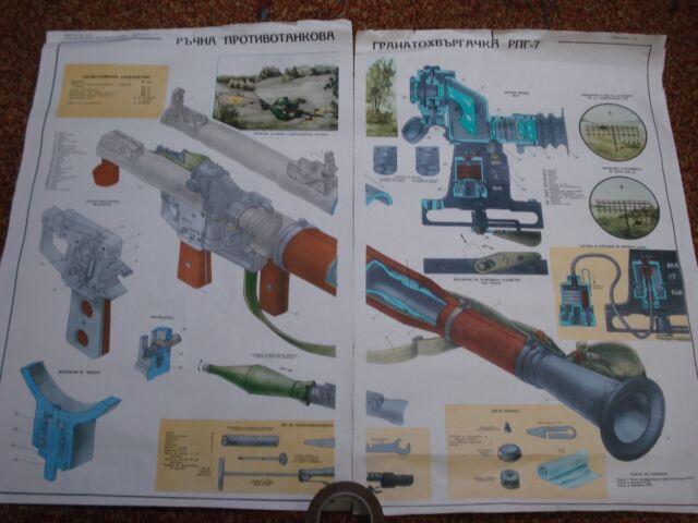 1970s Lg 2-Poster set, USSR RPG-7 Breakaway Training Poster ORIGINAL