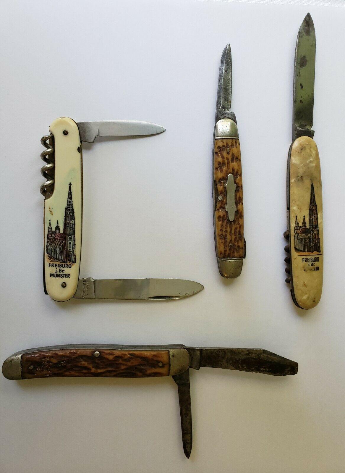 Lot Of 4 Vtg Pocket Knives Remington UMC, Hibbard Spencer, Foreign, Freiburg...