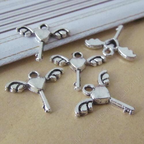 30pc Tibetan Silver Wings Heart Key Pendant Bracelet Charms Accessories P763