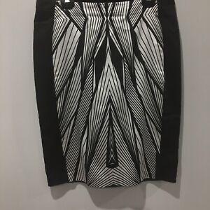 Veronika-Maine-Womens-Size-12-Black-White-Pattern-Slit-Skirt-Ladies-Work-Casual