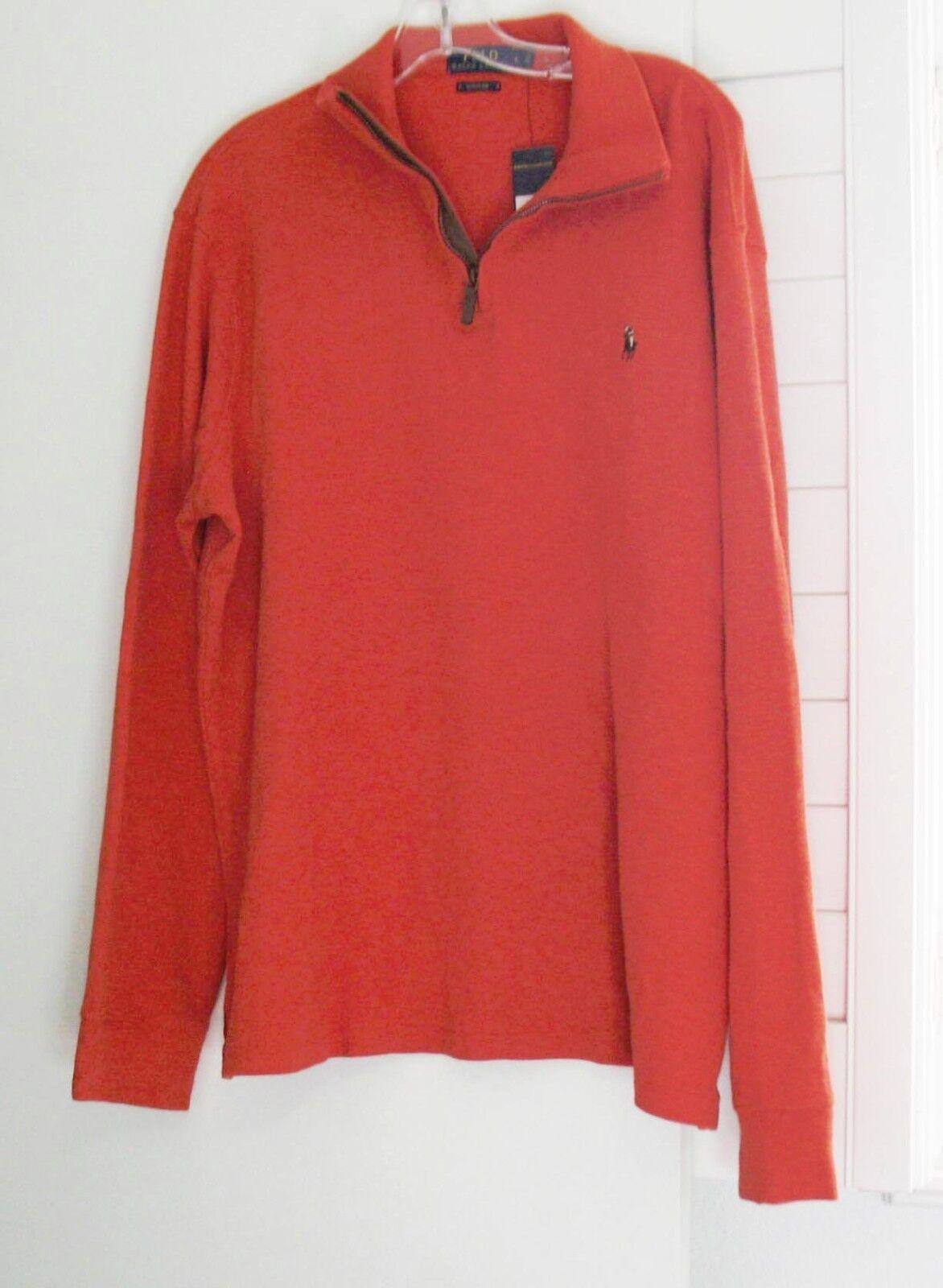 Ralph Lauren  Herren Estate Rib Half Zip Sweater Varsity Orange Sz L - NWT