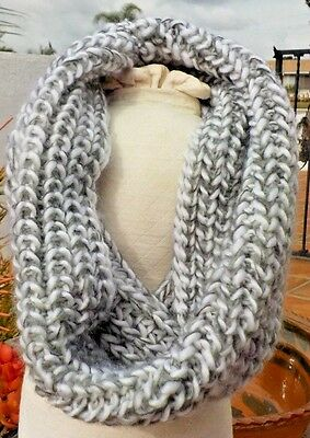GRAY & WHITE SOFT YARN LADIES HAND KNIT COWL NECK SCARF WITH FREE SHIPPING