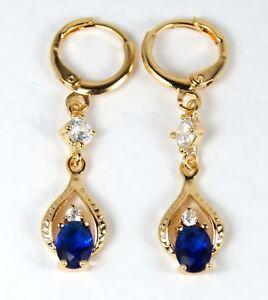 Women-039-s-18-Carat-Gold-Plated-Blue-and-Clear-Zircon-Drop-Dangle-Huggie-Earrings
