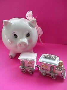 Tooth & Curl for Baby Teeth /1st curl enamel trinket & pink pgi polka dot bank