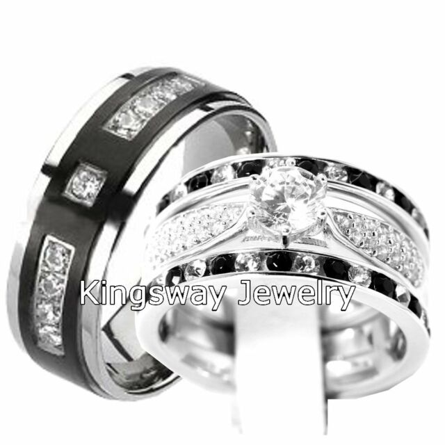 His & Hers 4 pcs Womens STERLING SILVER & Mens TITANIUM Wedding Rings Set