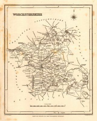 2019 Fashion Antique County Map Of Worcestershire By Starling & Creighton For Lewis C1840