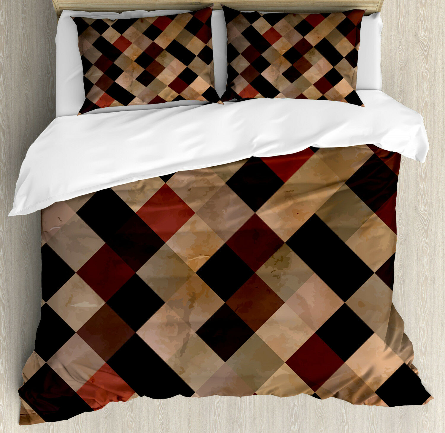 Grunge Duvet Cover Set with Pillow Shams Antique Brown Toned Grid Print