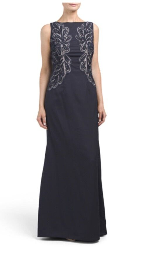 JS Collections Navy Sleeveless Embroidered Detail Detail Detail Gown NWT Sz 8 e63f05