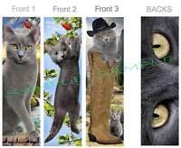 3 Lot-cat Russian Blue Bookmark Gray Cowboy Western Art Card Figurine Ornament