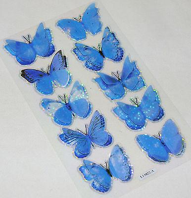 NEW 10 3D GLITTERY BUTTERFLY STICKERS SCRAPBOOK CARD MAKING BLUE BL2