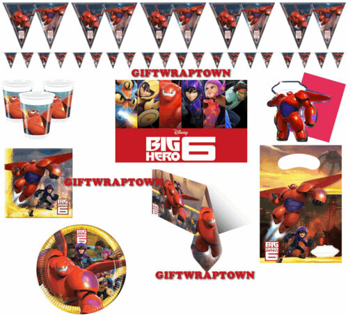 BIG HERO SIX 6 PARTY SUPPLIES BAYMAX CUPS NAPKINS BUNTING PLATES TABLECLOTH