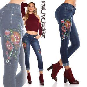 Unito blu 10 con 8 sexy 12 stampa Jeans perline 14 e skinny slim floreale Regno 6 AFvxEBwq