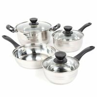 New Cookware Set Pots And Pans Non-Stick Stainless Steel 7 Piece Cooking Kitchen