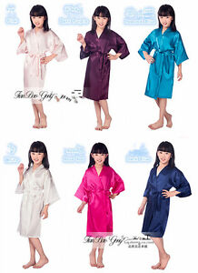 Kid Silk Satin Kimono Robes5 Bathrobe Sleepwear Wedding Flower Girl Night Dress~